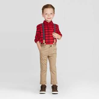 Cat & Jack Toddler Boys' 3pc Stripe Shirt & Suspender Set - Cat & JackTM Red/Brown