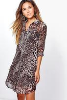 Boohoo Maive Leopard Shirt Dress