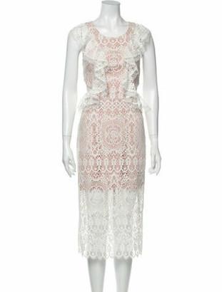 Alexis Lace Pattern Midi Length Dress w/ Tags White