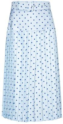 Rodarte Polka-dot high-rise silk midi skirt