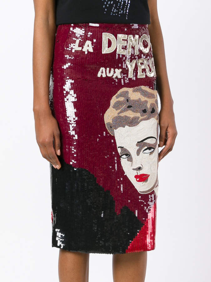 Olympia Le-Tan abstract print sequin skirt