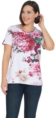 Factory Quacker Botanical Burst Sparkle Short Sleeve Knit T-shirt