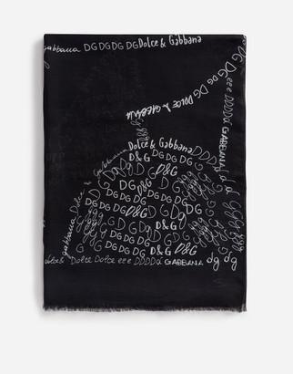 Dolce & Gabbana Modal Lettering-Print Scarf