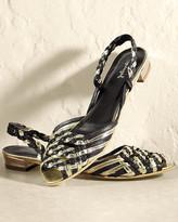 Woven Metallic Leather Slingback