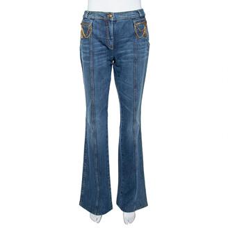 Roberto Cavalli Indigo Distressed Denim Chain Detail Flared Jeans M