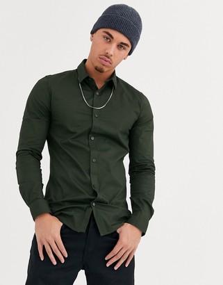 ONLY & SONS slim fit stretch poplin shirt in green