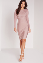 Missguided Premium Long Sleeve Bandage Bodycon Dress Pink