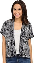 Lucky Brand Women's Geometric Short-Sleeve Cardigan