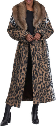 Maurizio Braschi Sable Collar Wool Coat with Wrap Belt