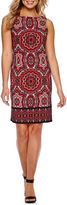 London Times Sleeveless Paisley Sheath Dress