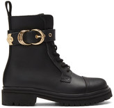 Versace Black Leather Hiking Boots