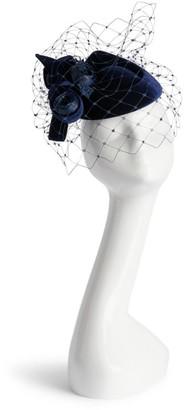 Philip Treacy Velvet Floral-Trim Pillbox Hat