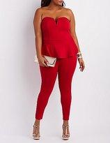 Charlotte Russe Plus Size Strapless Peplum Jumpsuit