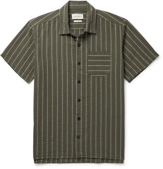 Oliver Spencer Camp-Collar Striped Organic Cotton-Seersucker Shirt - Men