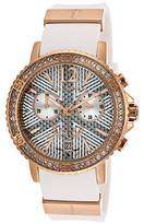 Ted Lapidus Women's Chronograph Rose-Tone Steel Case White Rubber