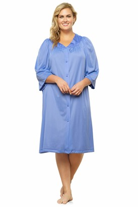 Exquisite Form Size Women's Button Front Knee Length Robe 10807