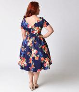 Unique Vintage Plus Size 1950s Navy & Floral Bouquet Short Sleeve Draper Swing Dress