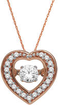 JCPenney FINE JEWELRY Love in Motion 1/4 CT. T.W. Diamond 10K Rose Gold Heart Pendant Necklace
