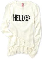 so nikki (Girls 7-16) Hello Ruffle Bottom Sweater