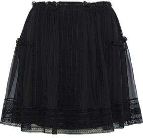 Alberta Ferretti Crochet-trimmed Pleated Silk-chiffon Mini Skirt