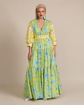 Badgley Mischka Multi Print Tiered Gown