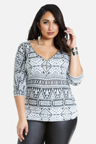 Fashion to Figure Mazey Geo Print Zip Top