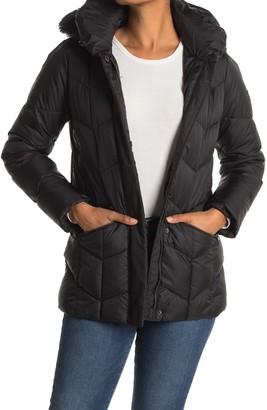 Larry Levine Faux Fur Hooded Puffer Jacket