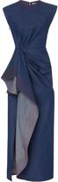 Prabal Gurung Asymmetric Draped Cotton Midi Dress