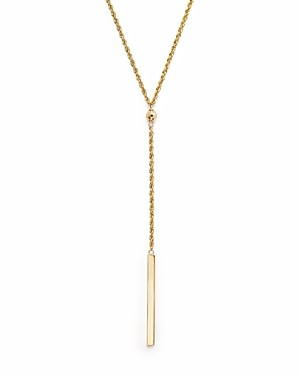 Bloomingdale's 14K Yellow Gold Rope Chain Bar Drop Necklace, 18 - 100% Exclusive