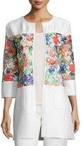 Berek Floral-Inset Crinkle Jacket, Petite