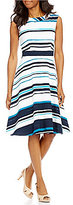 Alex Marie Constance Round Neck Sleeveless Fit-and-Flare Striped Dress