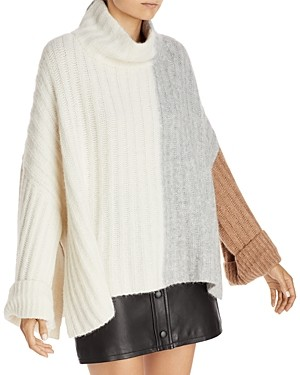 Eleven Six Colorblocked Ribbed Knit Poncho