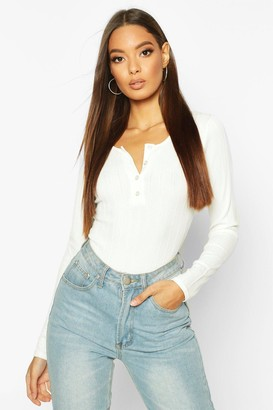 boohoo Long Sleeve Ribbed Button Up Bodysuit