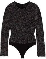 Cushnie et Ochs Sequin And Bead-Embellished Cotton-Mesh Bodysuit