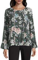 Liz Claiborne Long Sleeve Crew Neck Woven Floral Blouse-Tall