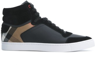 Burberry Leather and House Check Hi-top Sneakers