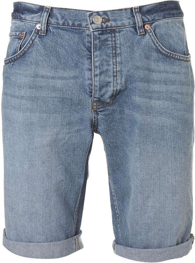 Topman Blue washed denim shorts