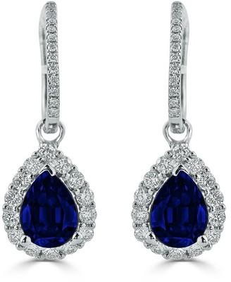 Auriya Fancy Teardrop 2 5/8ct Blue Sapphire and 5/8ct Diamond Halo Dangle Earrings 18k Gold