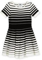 Milly Minis Short-Sleeve Striped Knit Circle Dress, Black/White, Size 4-7