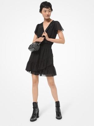 MICHAEL Michael Kors Metallic Crinkled Georgette Ruffled Wrap Dress