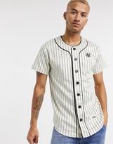 SikSilk striped baseball jersey in white