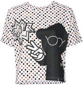 Emporio Armani polka dotted T-shirt with print