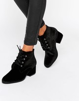 London Rebel Lace Up Velvet Kitten heel Ankle Boot