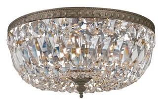 House of Hampton Sawin 3 - Light 14'' Chandelier Style Bowl LED Flush Mount Crystal Grade: Majestic Wood Polish