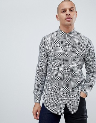 Armani Exchange houndstooth geo print shirt in black/white