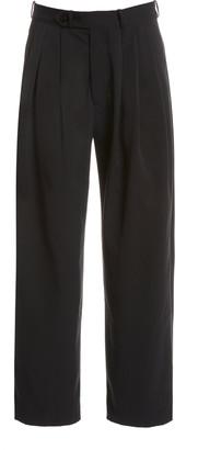 MONITALY Triple Tuck Cotton Tapered Pants
