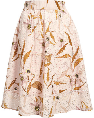 Ted Baker Cabana-print broderie anglaise cotton midi skirt