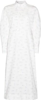 Ganni Cat-Print Cotton Shirtdress