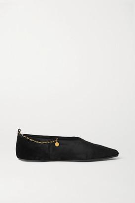 Stella McCartney Chain-embellished Velvet Flats - Black