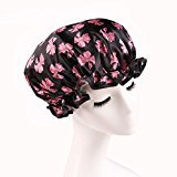 Lvge Microfiber Double Layers Elastic Reusable Waterproof Shower Cap Black Butterfly